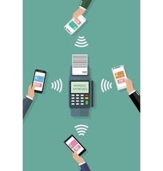 Nfc payment flat design style vector image