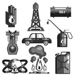 Oil and gasoline set of icons vector