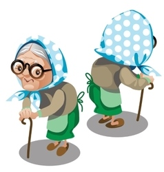 Old woman with cane front and back vector