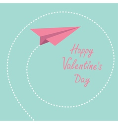 Origami paper plane Dash spiral Valentines day vector image vector image