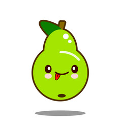 Pear fruit cartoon character icon kawaii flat vector