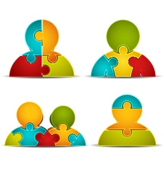 People made of puzzle vector image