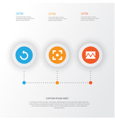 Picture icons set collection of capture rotate vector