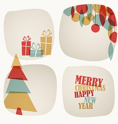 Retro Christmas card with christmas tree gifts and vector image vector image