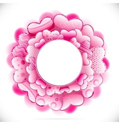 Round frame made of hearts and adorned with vector image vector image