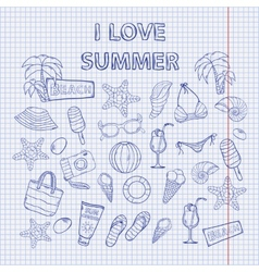 Scrap set I love summer on the notebook sheet vector image vector image