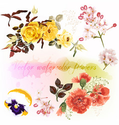set of floral designs in watercolor style vector image vector image