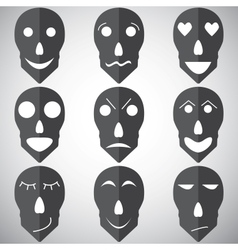 Skull mask emotion set vector