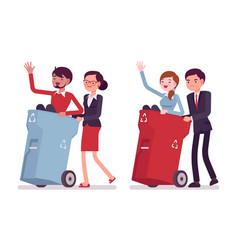 Useless people in trash bins vector