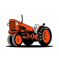 Vintage tractor on isolated background vector
