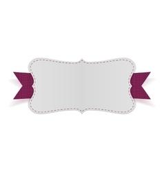 White empty card on purple ribbon vector