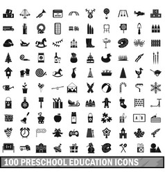 100 preschool education icons set simple style vector