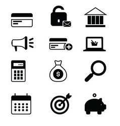 Business icons set single vector image