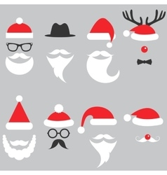 Santa hats moustache and beards vector