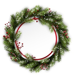 Christmas wreath with holly vector