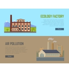 Ecology factory and air pollution plant banners vector