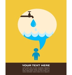 save the water poster with raining tap vector image