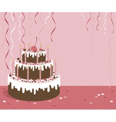 Pink background with birthday cake vector