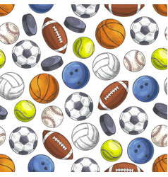 Sport seamless pattern with sketch game balls vector