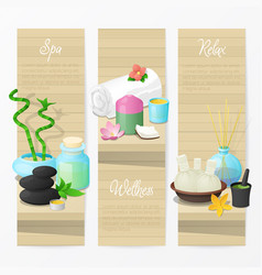 Spa and wellness banners with natural cosmetics vector