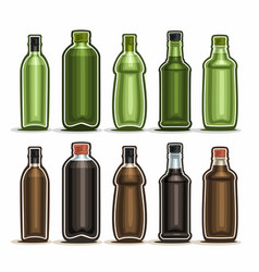 Set green and brown glass bottles vector
