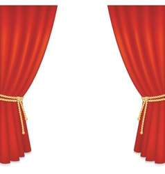 Realistic red velvet curtain vector
