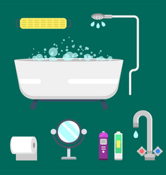 Bath equipment icons modern shower colorful vector