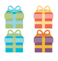set of icons of gift boxes vector image