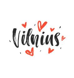 Vilnius modern city hand written brush lettering vector