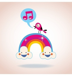 Rainbow clouds and singing bird vector