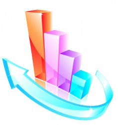 3d glass graph vector image