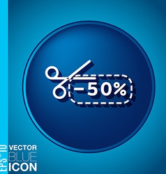Discount coupon with scissors symbol icon vector
