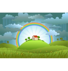 The rainbow protects the small house vector image