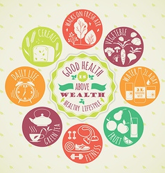 Healthy lifestyle icon set vector