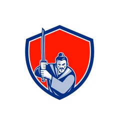 Samurai warrior katana sword shield retro vector