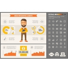 Media flat design infographic template vector