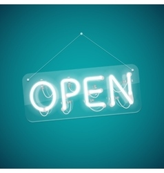White glowing neon open sign vector