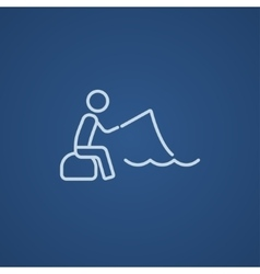 Fisherman sitting with rod line icon vector