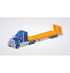 Blue heavy truck with yellow low-bed trailer vector