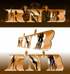 R'n'B titles girls silhouette vector image
