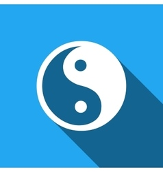 Yin yang symbol icon with long shadow vector
