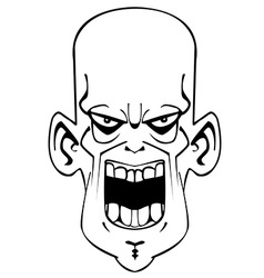 Black and white crazy evil face vector