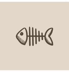Fish skeleton sketch icon vector image