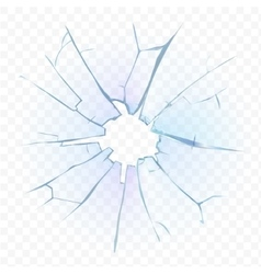 Broken transparent glass or frosted window pane on vector