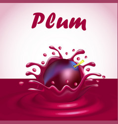 A splash of juice from a falling plum and a drop vector