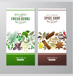 banners with herbs and spices vector image vector image