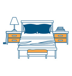 bedroom with nightstand color section silhouette vector image