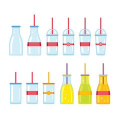 Bottle glass cup icons set vector