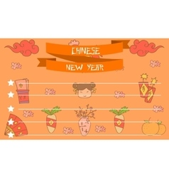 Collection stock of chinese greeting card vector