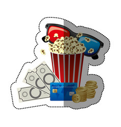 colorful sticker with popcorn cup and glasses 3d vector image vector image